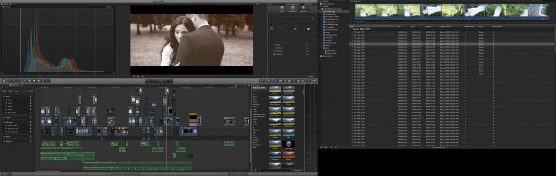 Dual Monitor Editing in FCPX editing a wedding.