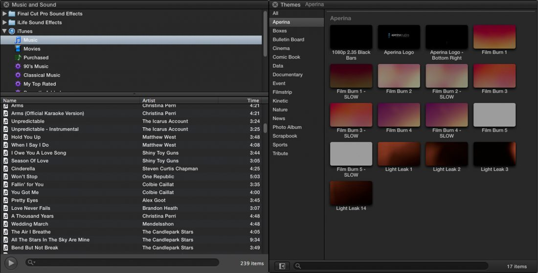Music selection in FCPX for Wedding videography and cinematography.