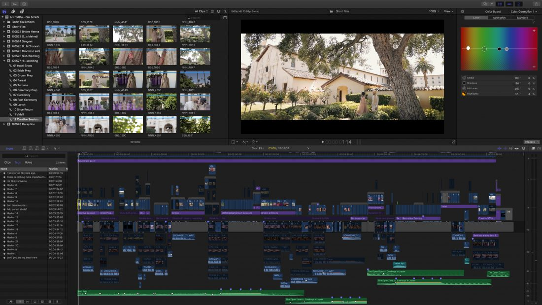 Editing a wedding in FCPX Aperina Studios