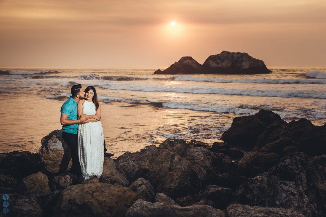 San Francisco engagement session photography in Lands End by the ocean with Raj & Simran.