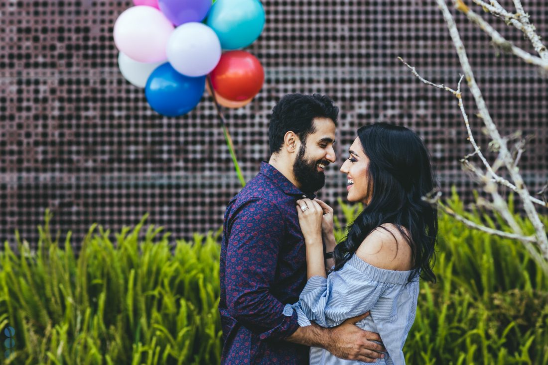 San Francisco Classic Indian Engagement Photography of Pardeep & Lovepreet with balloons by Aperina Studios.