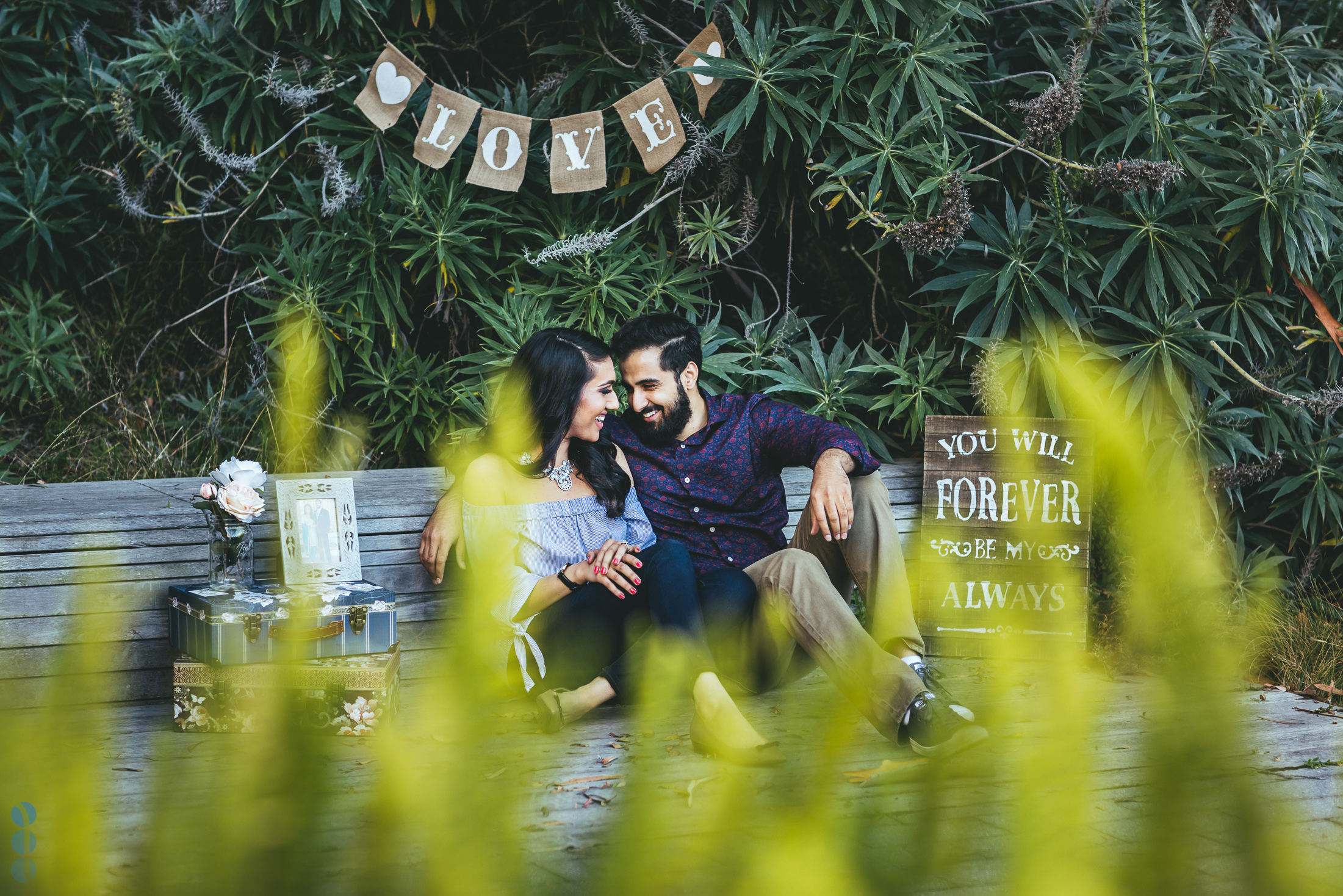 Classic Indian Engagement Photos of Pardeep & Lovepreet with a romantic setup by Aperina Studios.