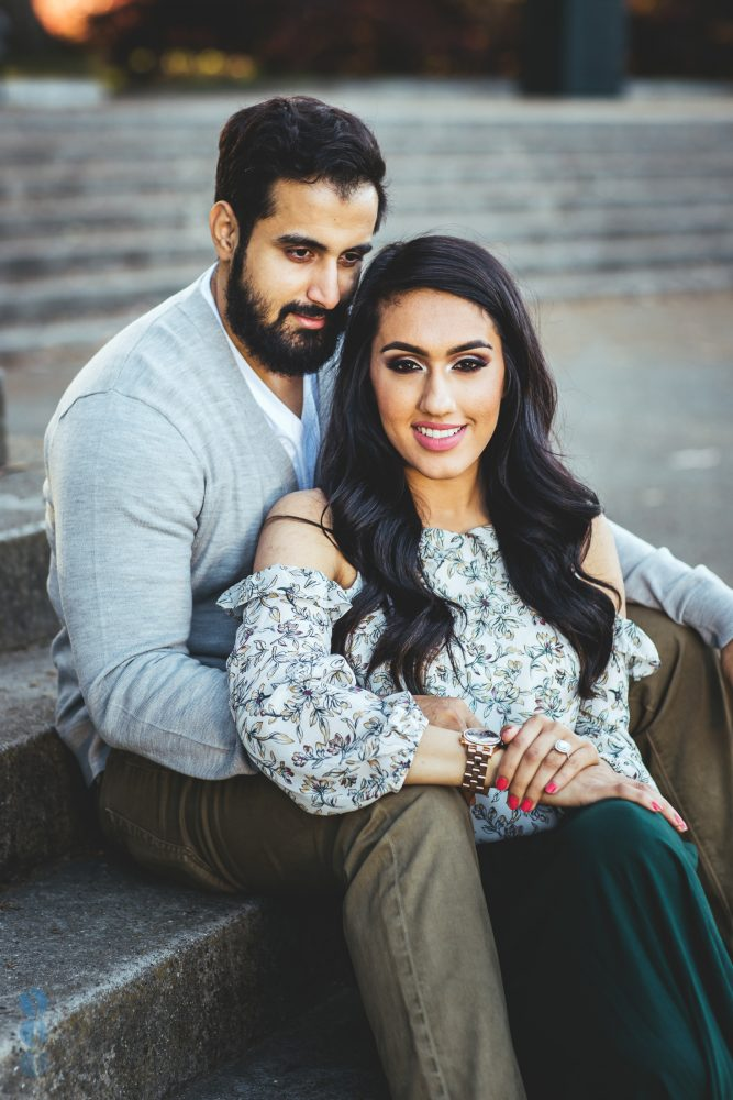 Classic Indian Engagement Photos of Pardeep & Lovepreet at the Music Concourse in San Francisco by Aperina Studios.