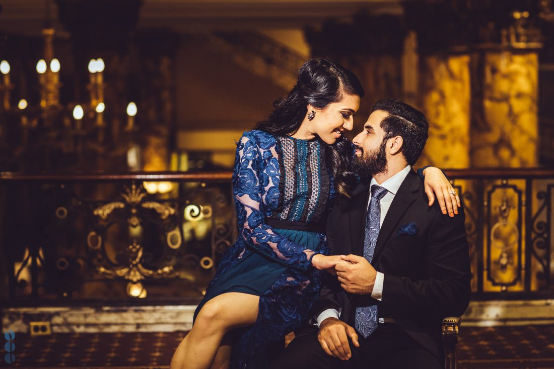 Romantic Indian Engagement Photos of Pardeep & Lovepreet at night in the San Francisco by Aperina Studios.