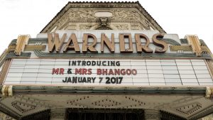 Warnors Theater marquee sign that was across the street of The Grand 1401. Introducing Mr & Mrs Bhangoo.