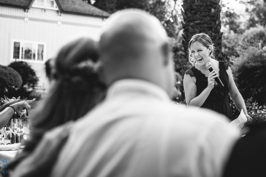 Maid of Honor saying her speech - Napa Valley Wedding Photography