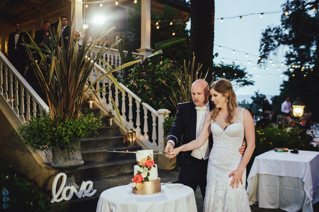 Bride and Groom cutting the cake - Napa Valley Wedding Photography