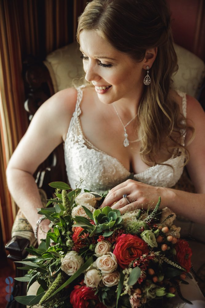 Bride's portraits inside the Madrona Manor Historic Mansion