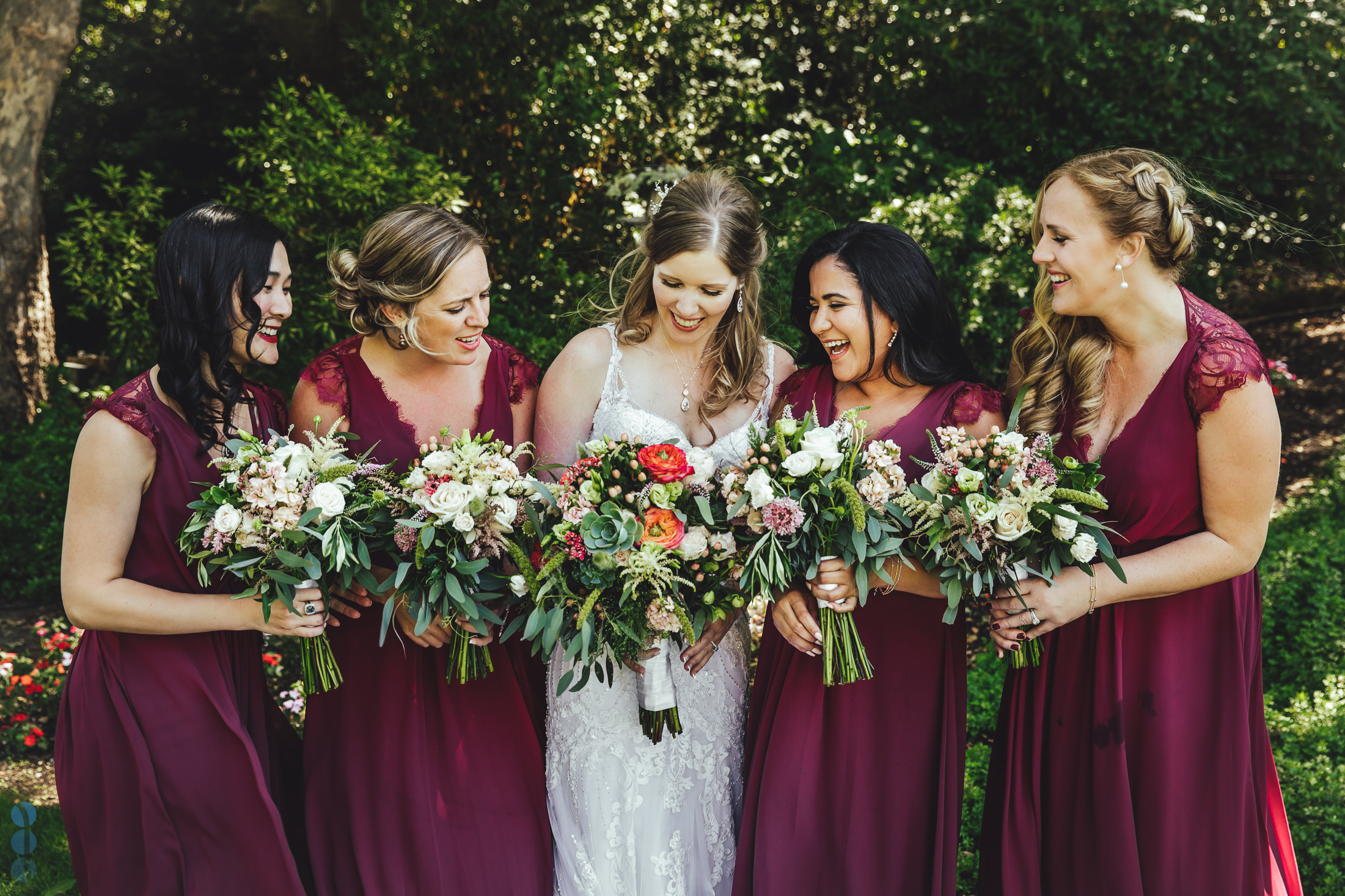 Bride and her Bridesmaid's enjoying their time after the wedding ceremony.