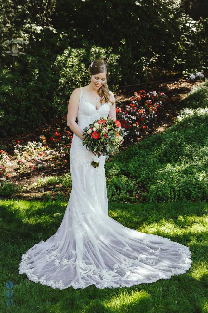The Bride, the dress, the flowers. Photos at Madrona Manor in the heart of Napa Valley.