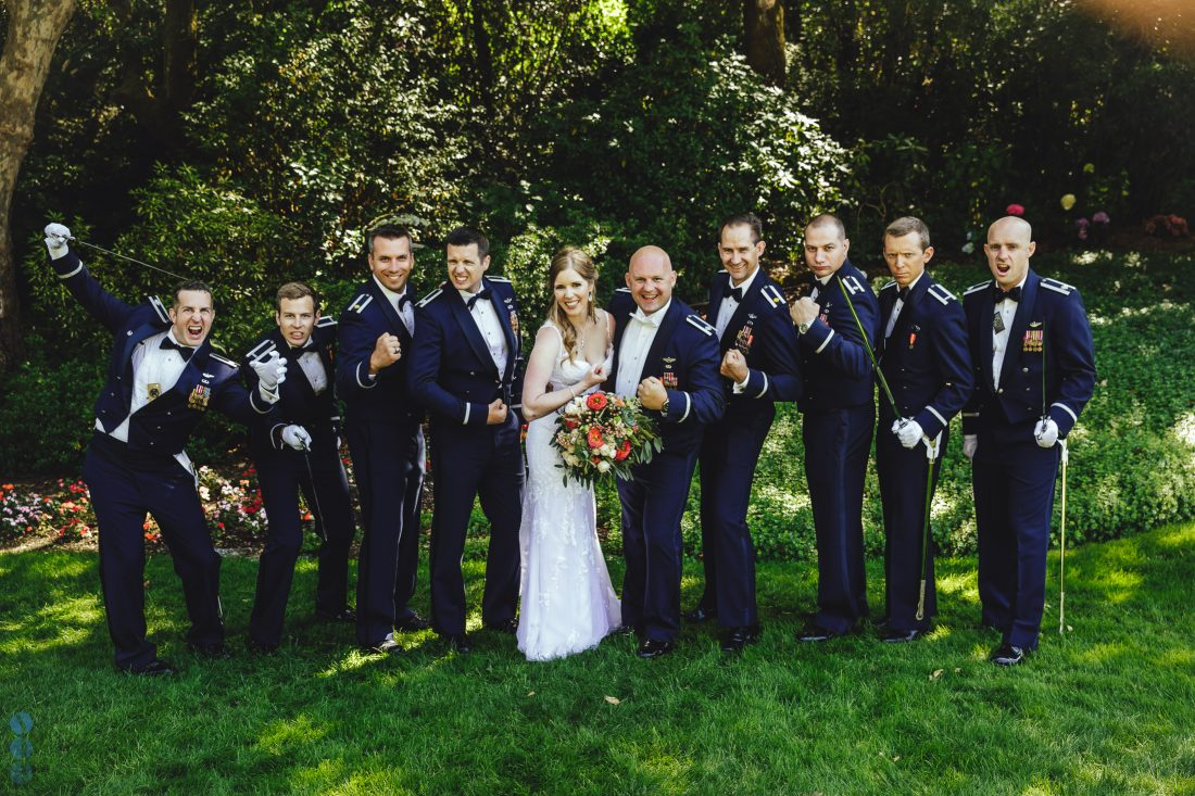 The air-force Groom's men and the bride.