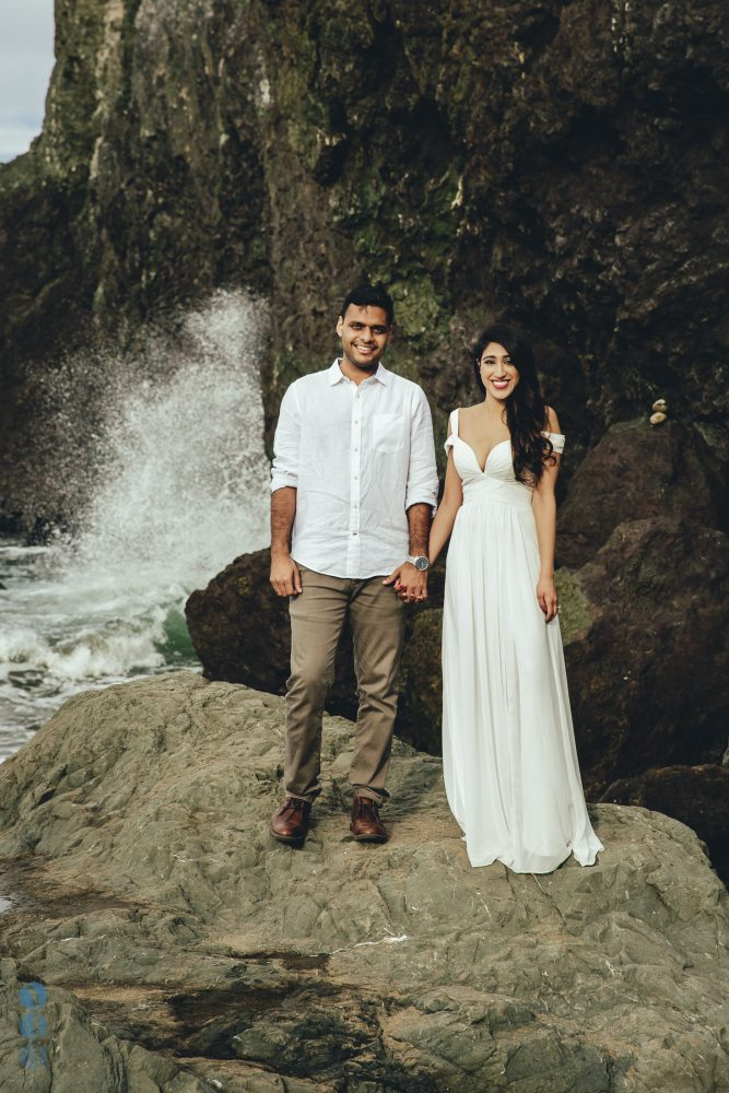 Bay Area engagement session photography by the ocean with Sahil & Natasha.