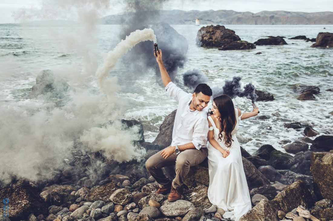 Color Smoke Bomb Photography on the beach with Sahil & Natasha.