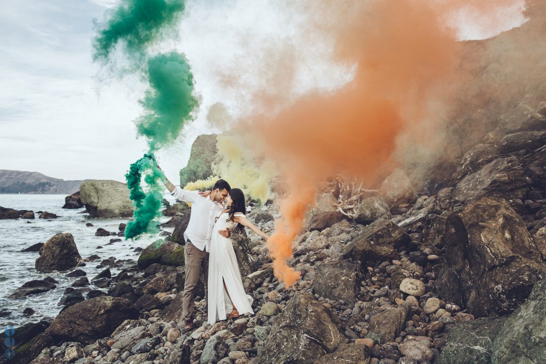 Colored Smoke Bomb Engagement photography on the beach with Sahil & Natasha.