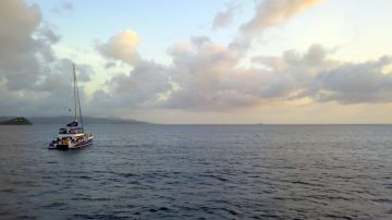 View of a Sail Boat in the St. Lucia Ocean during a Destination Wedding Music Video