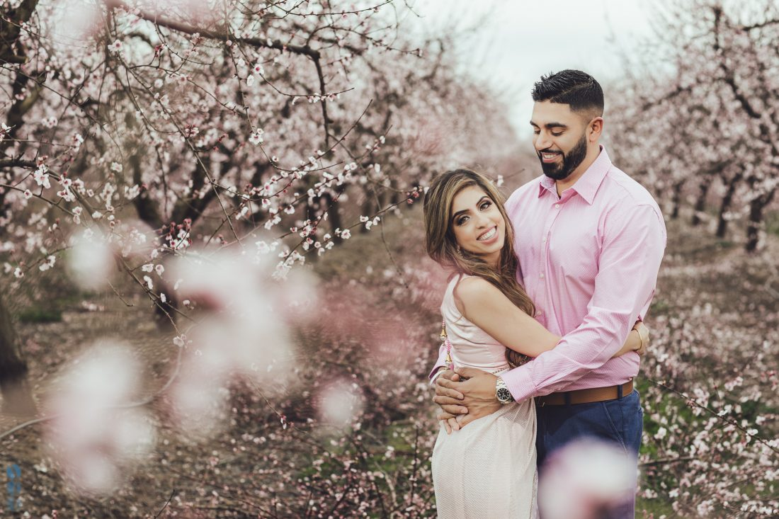Romantic Blossoms Engagement Photoshoot with Harmon and Betha Thiara