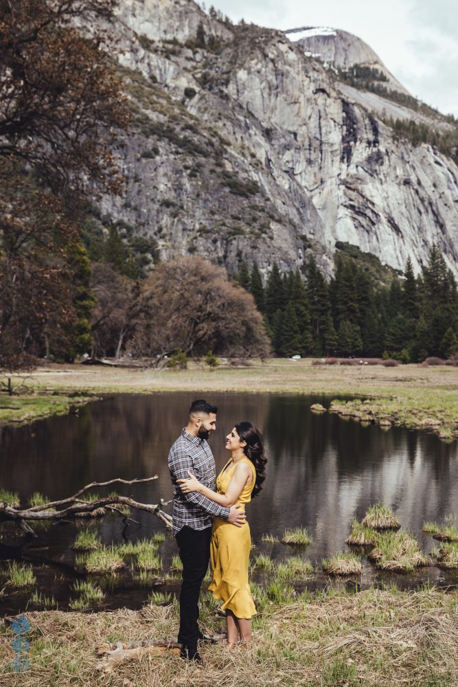 Yosemite Engagement photos overlooking Half Dome - Amit and Veena