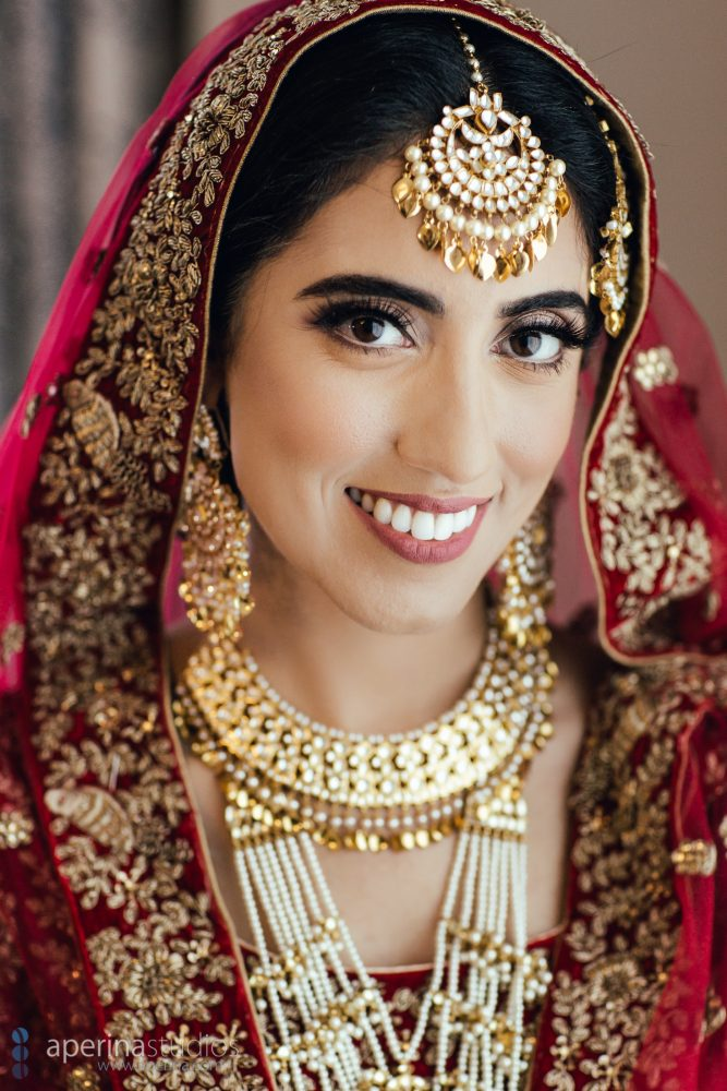 Sikh Indian bride portrait in Red Lehenga