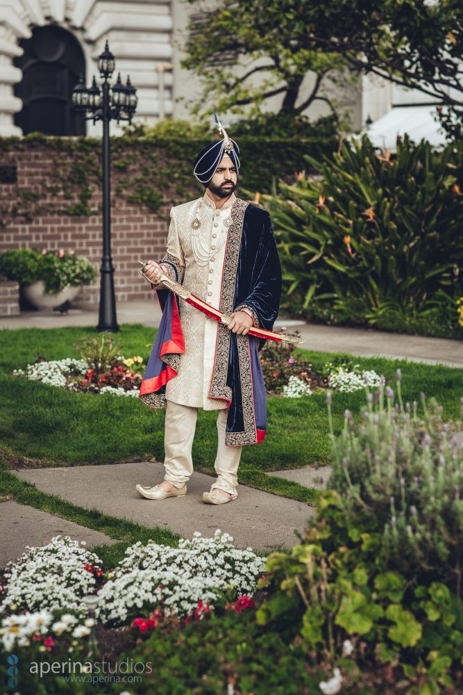 Sikh groom portrait in the rooftop garden of Fairmont San Francisco