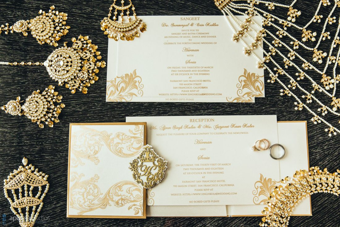 Indian wedding - Gold invitations & stationary
