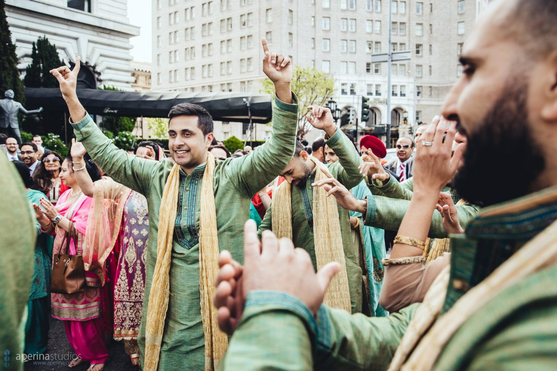 Indian wedding baraat dancing on Mason Street in front of Fairmont San Francisco