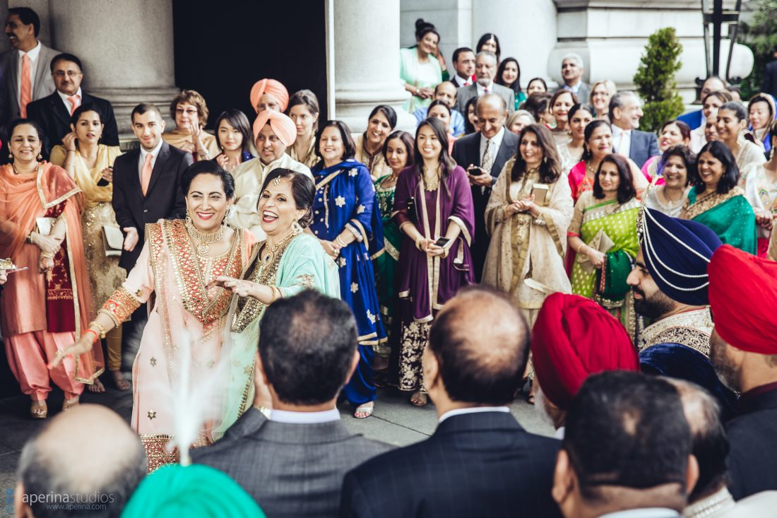 Indian wedding family tradition milni in front of Fairmont San Francisco