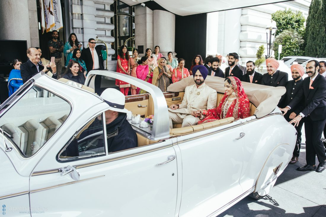 Sikh Indian wedding vidaii ritual of bride and groom at the Fairmont San Francisco