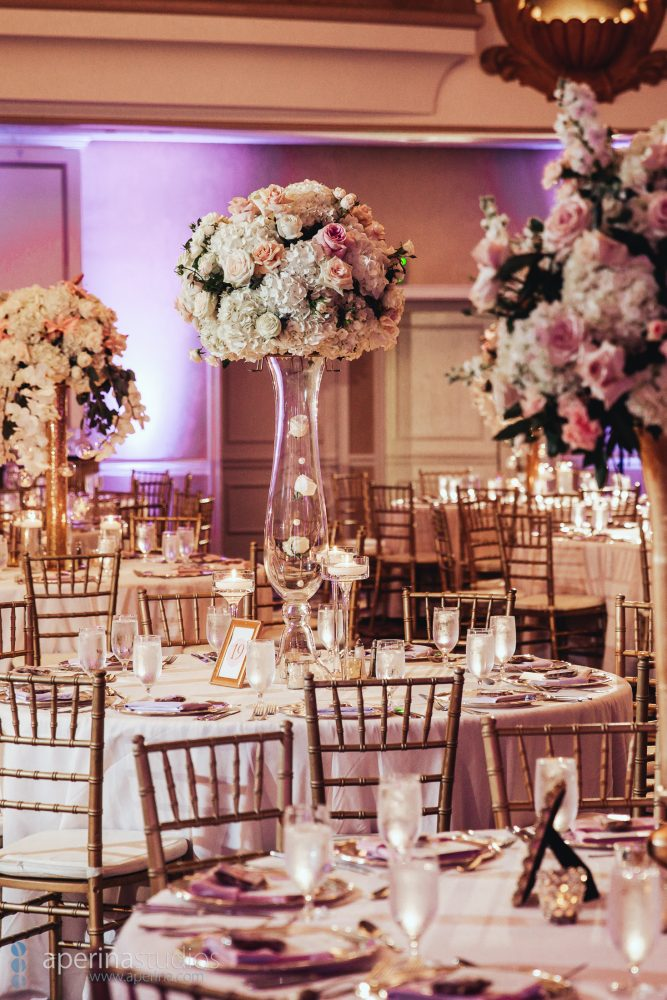 Indian wedding reception floral decor design table settings in the grand ballroom of the Fairmont San Francisco by Anais Events