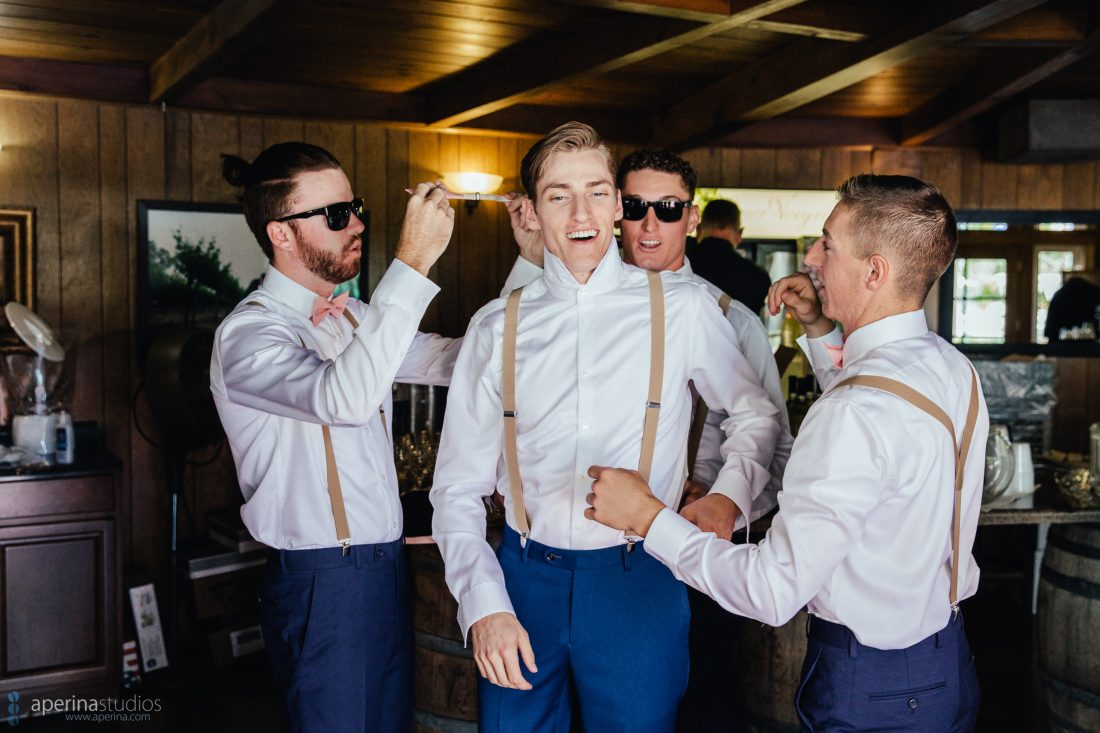 Grace Vineyards Winery Wedding Photos - groom and groomsmen