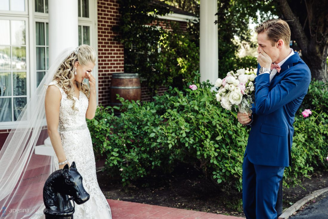 Grace Vineyards Winery Wedding Photographer - bride and groom first look