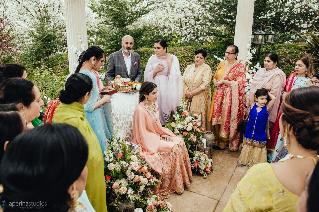 Chunni Ceremony under a decorated gazebo - Wedding Photography