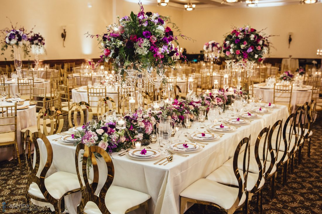 Indian Wedding Reception at Sunrise Banquet Hall in Vacaville, CA - Decor by WeDoDesigns