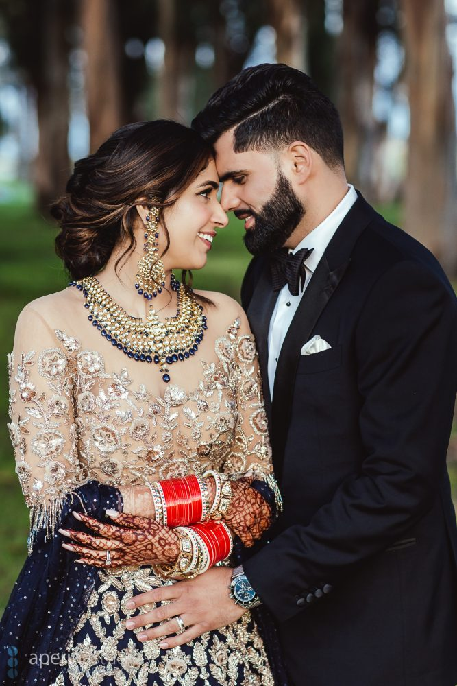 Glamorous Indian Wedding Reception Portraits by Aperina Studios