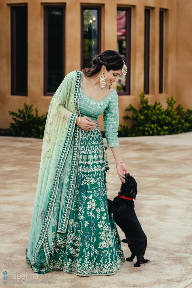 Indian Bride wearing stunning blue and green Anita Dongre lehenga on her Sangeet - Photo with her dog