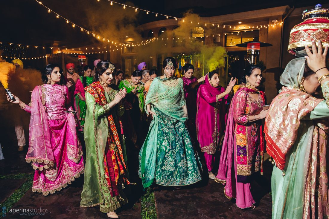 Indian Wedding Sangeet with Smoke Bomb - Indian Wedding Photographer