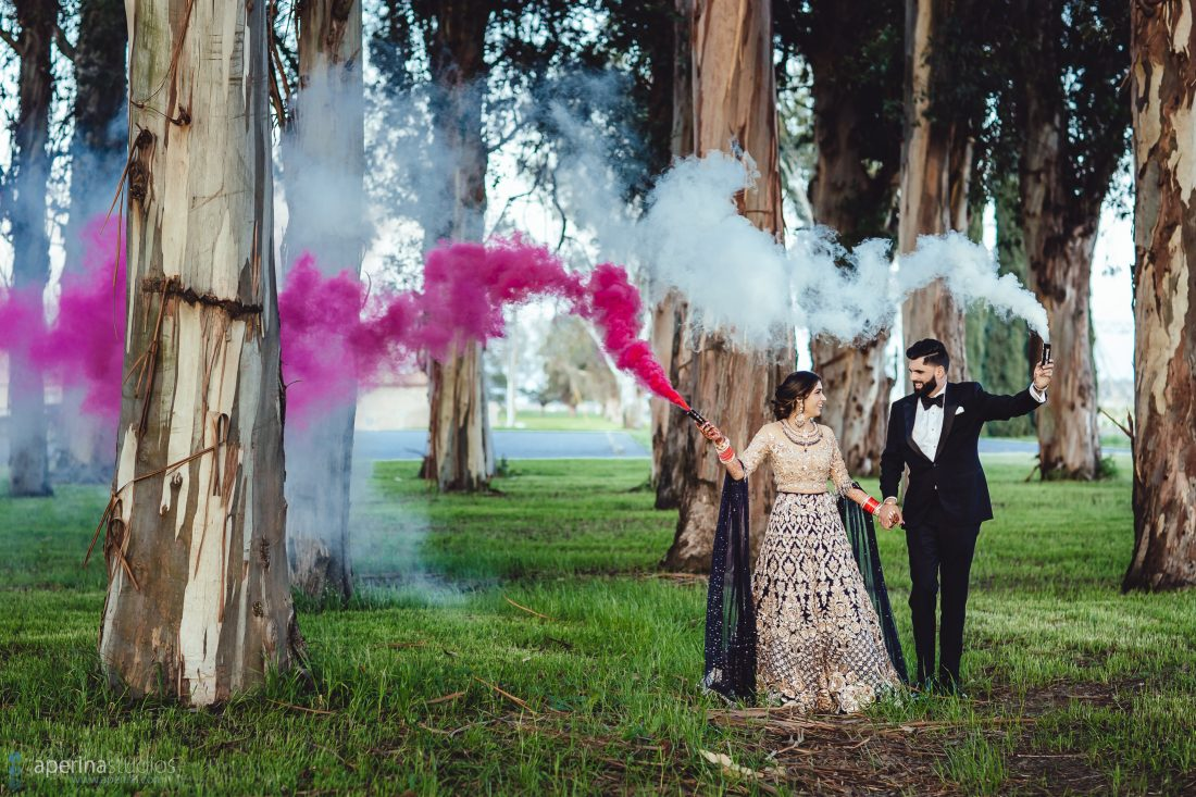 Wedding Reception Portraits with Smoke Bombs