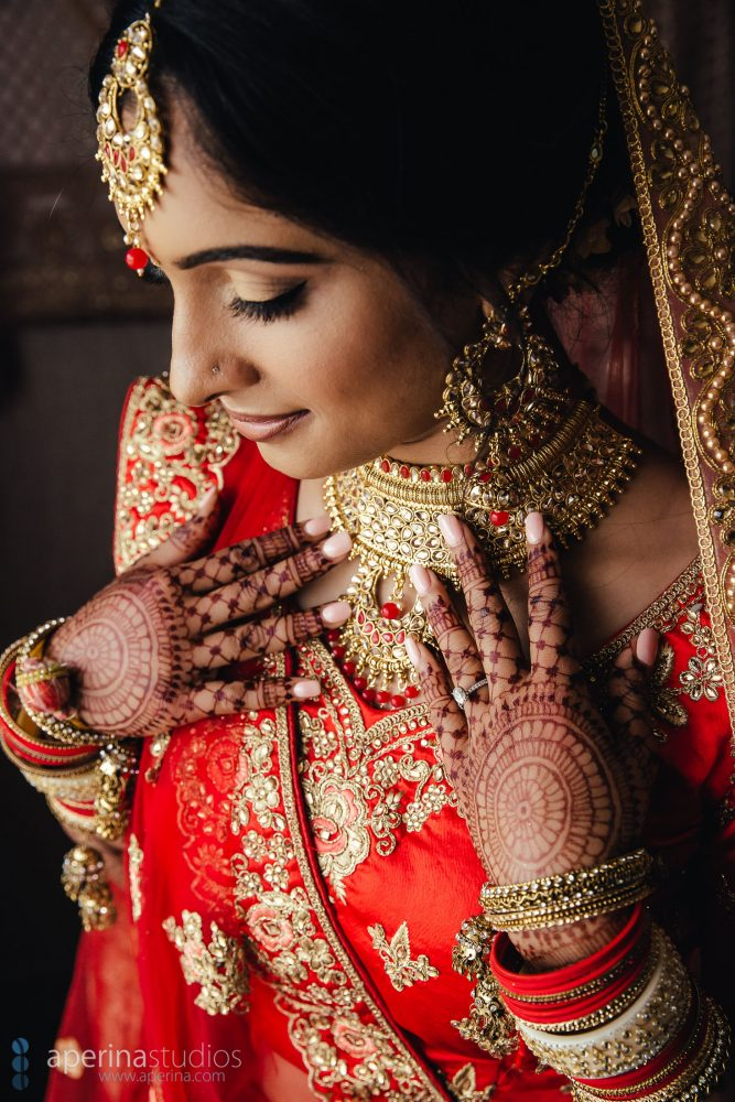 Indian wedding photography - Bride portrait in red lehenga dress and gold jewelry
