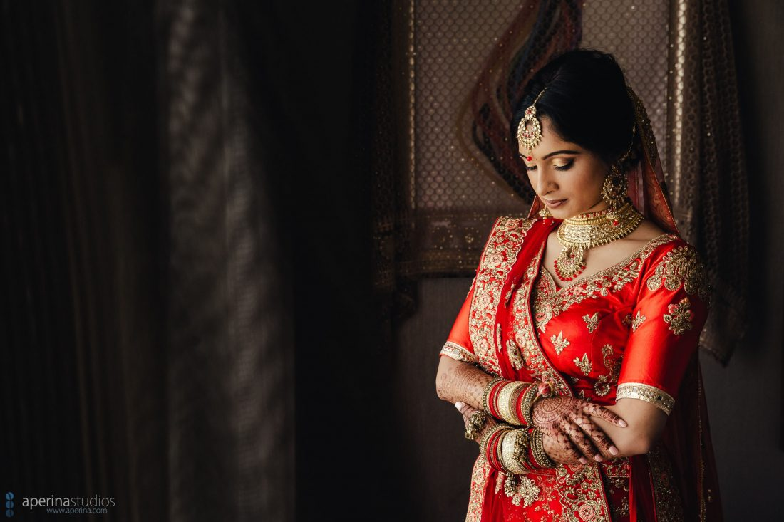 Indian wedding photographer - Bride portrait in red lehenga dress and gold jewelry