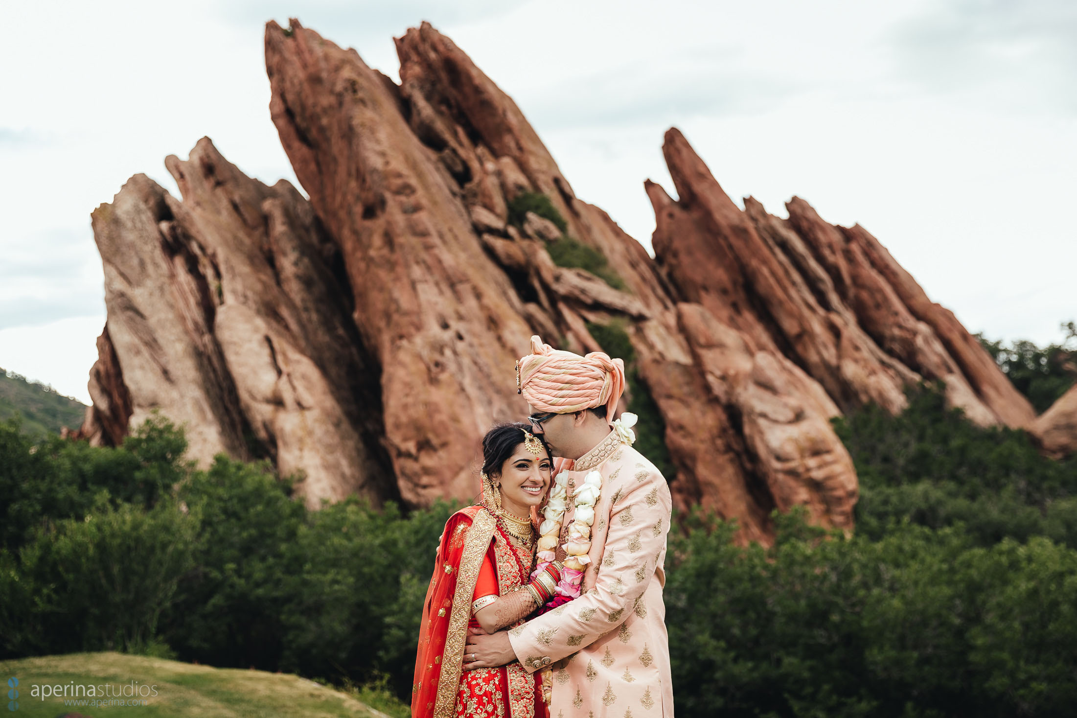 Indian Wedding Photography by Aperina Studios - beautiful Hindu couple portraits with red rocks in Denver, CO.