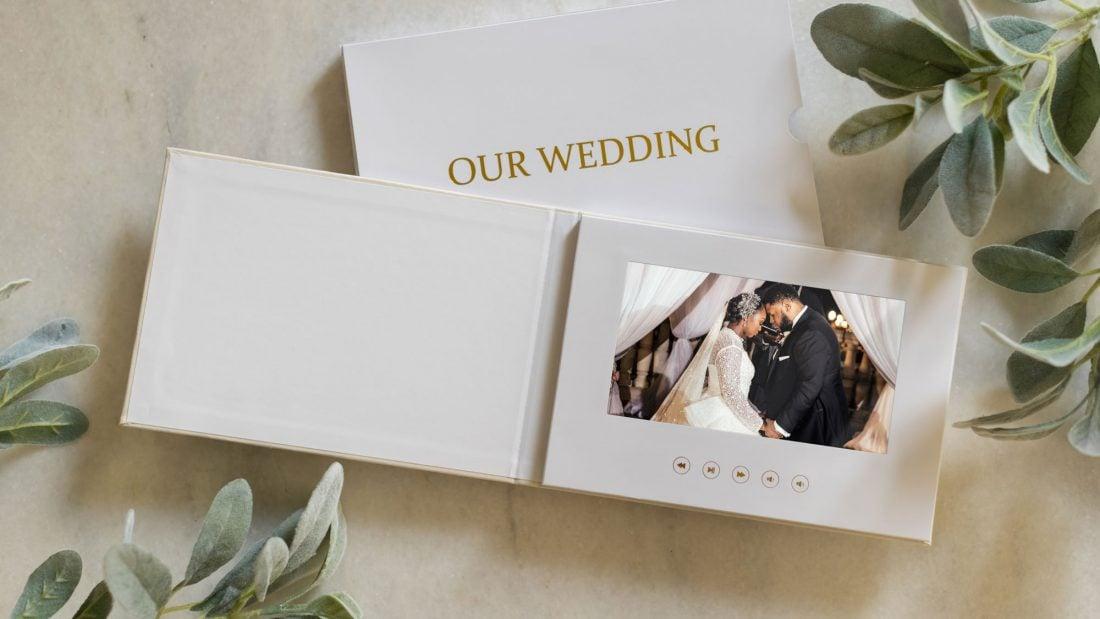 Wedding film book on a coffee table